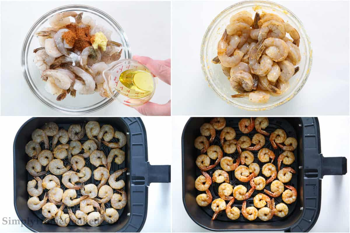 Steps to make Air Fryer Shrimp, including adding oil and seasonings to bowl of shrimp, mixing together, and then cooking the shrimp in an air fryer basket.