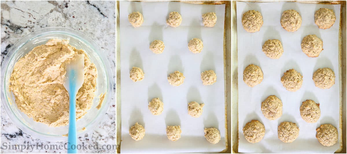 Steps to make Chewy Banana Oatmeal Cookies, including mixing the ingredients and forming balls of dough and then baking them.