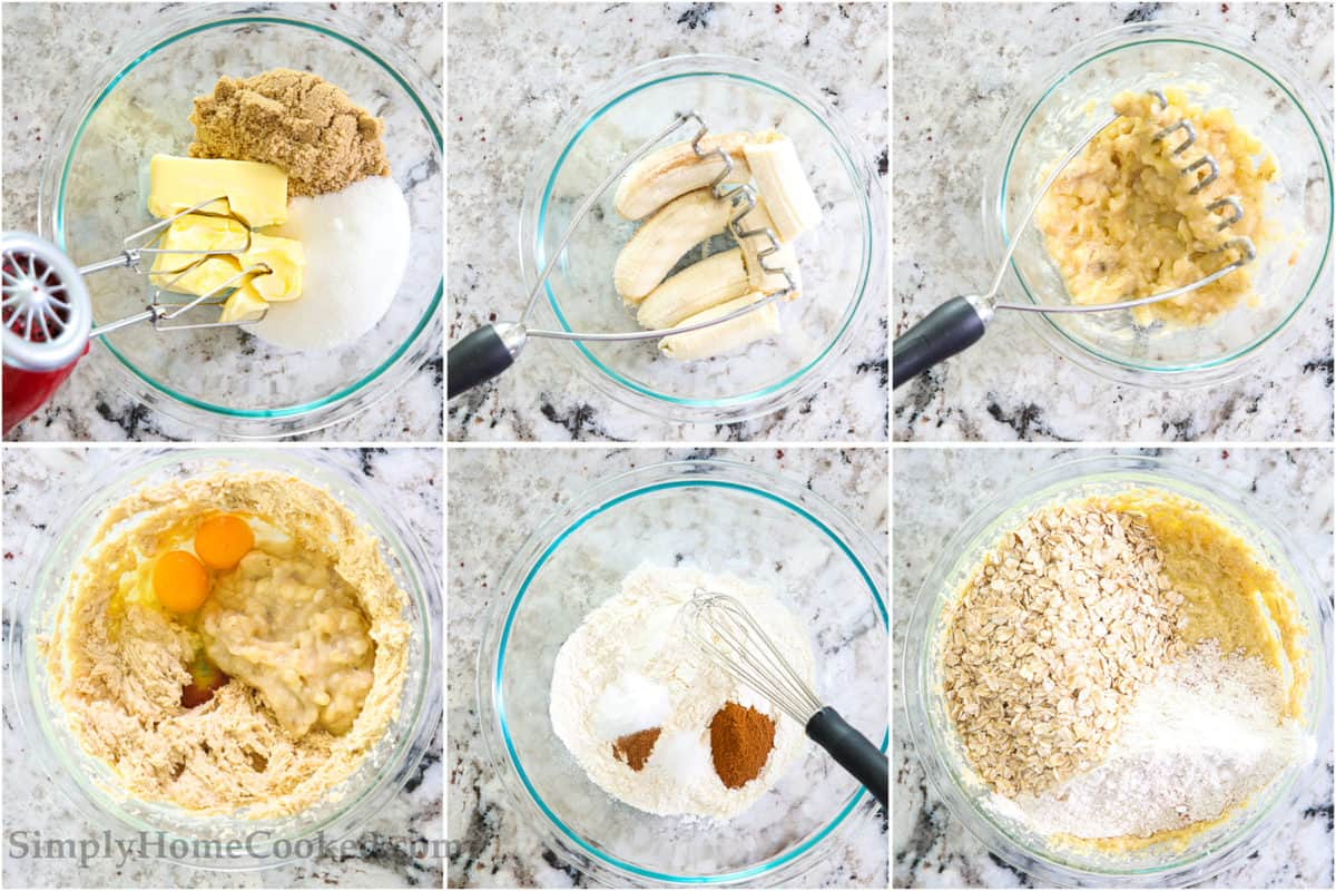Steps to make Chewy Banana Oatmeal Cookies, including beating wet ingredients, mashing bananas, mixing the dry ingredients, and then adding them all together.