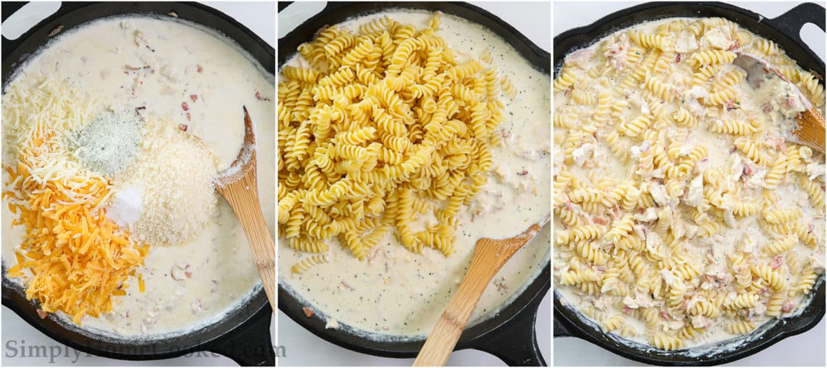 Steps to make Chicken Bacon Ranch Pasta, including adding 3 cheeses to the sauce, stirring in the rotini pasta, and mixing everything together.