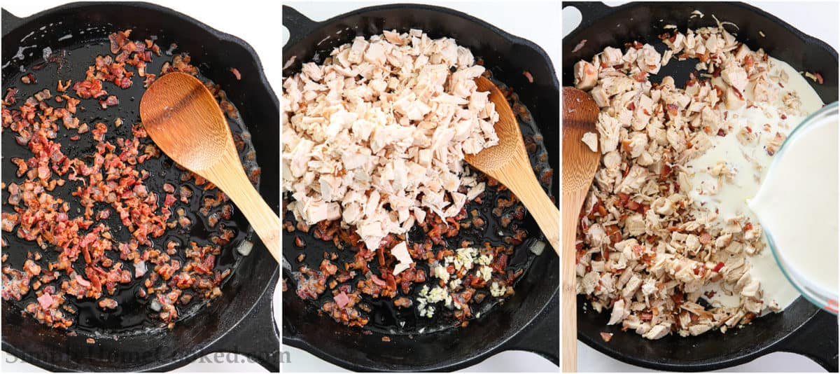 Steps to make Chicken Bacon Ranch Pasta, including crisping the chopped bacon pieces, adding the shredded chicken and minced garlic, and then mixing in the heavy cream.