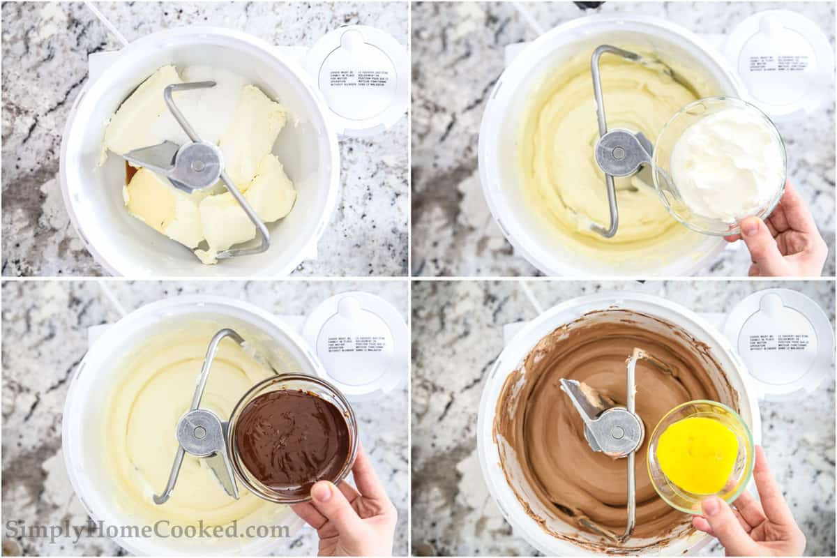 Mixing sugar and butter, then adding sour cream, adding melted chocolate, and finally adding eggs to chocolate cheesecake batter in a stand mixer.