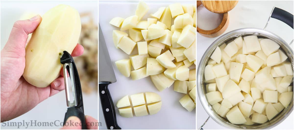 Steps for Super Creamy Mashed Potatoes, including peeling the potatoes, cutting them into cubes, and boiling them.