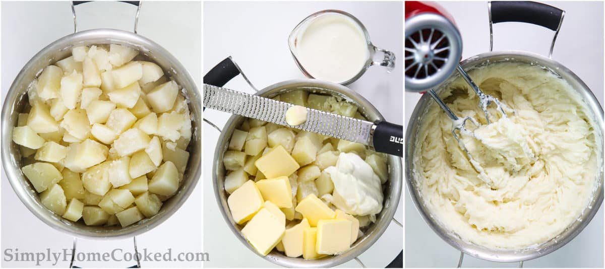 Steps for Super Creamy Mashed Potatoes, including cooking potato cubes, adding cream, butter, sour cream, and garlic, and beating with an electric mixer.