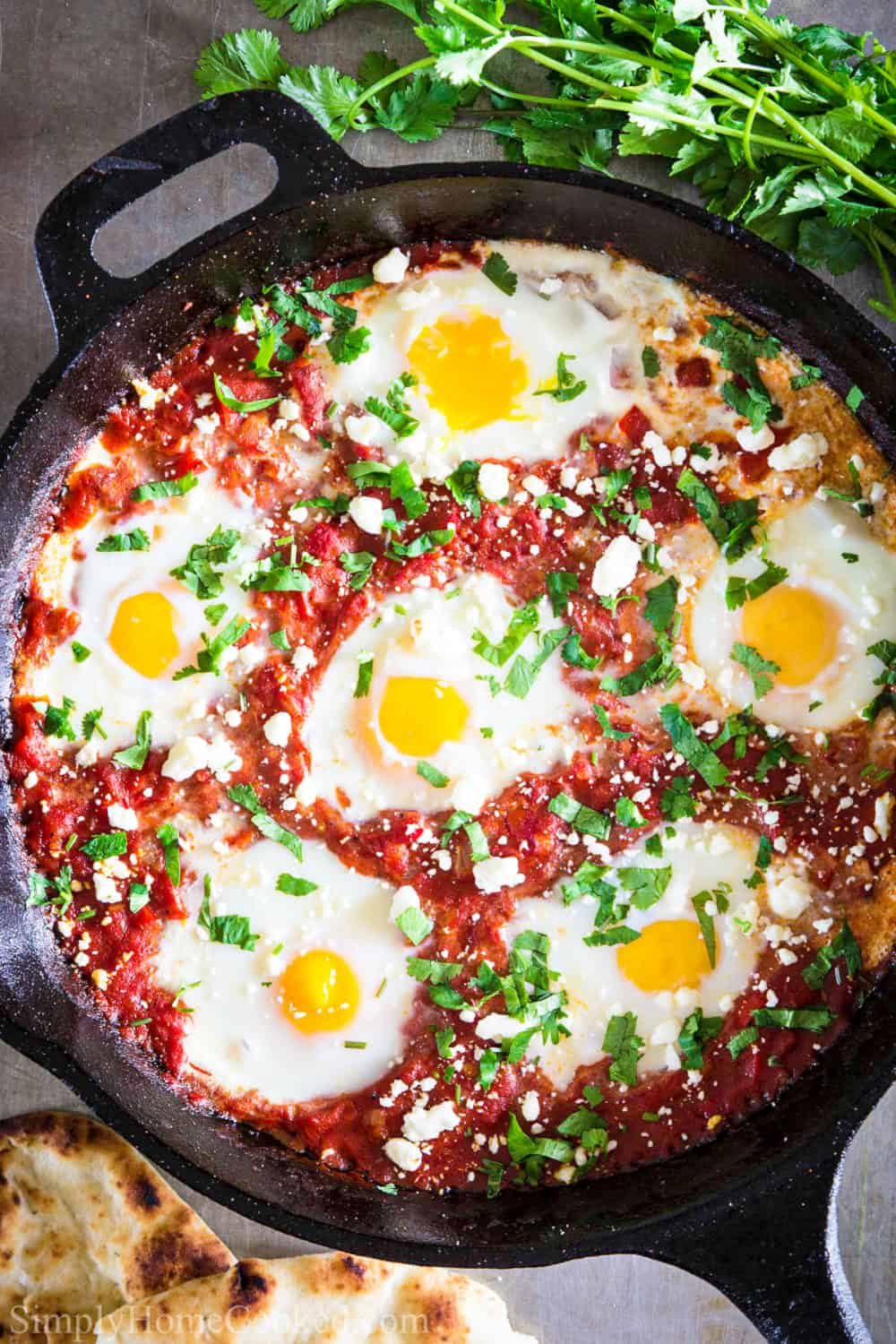 Cast iron pan with shakshuka inside and cilantro in the background.