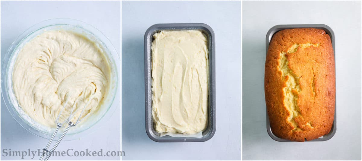 Steps to make Moist Lemon Pound Cake, including mixing the wet and dry ingredients together and then placing them in a loaf pan before baking.