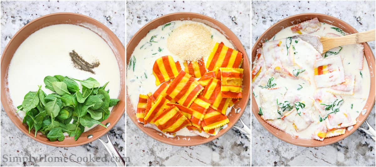 Steps to make Creamy Lobster Ravioli, including adding the spinach to the cream sauce, then the lobster ravioli, and stirring in the Parmesan cheese.