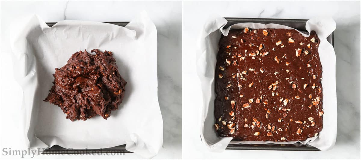 Steps to make Paleo Chocolate Fudge, including placing the fudge in a baking pan and topping with chopped pecans. before refrigerating