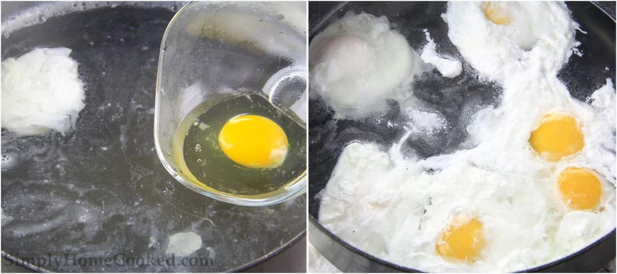 Steps to making Poached Eggs with Caramelized Onions, including bring water to a simmer and poaching the eggs in the water.