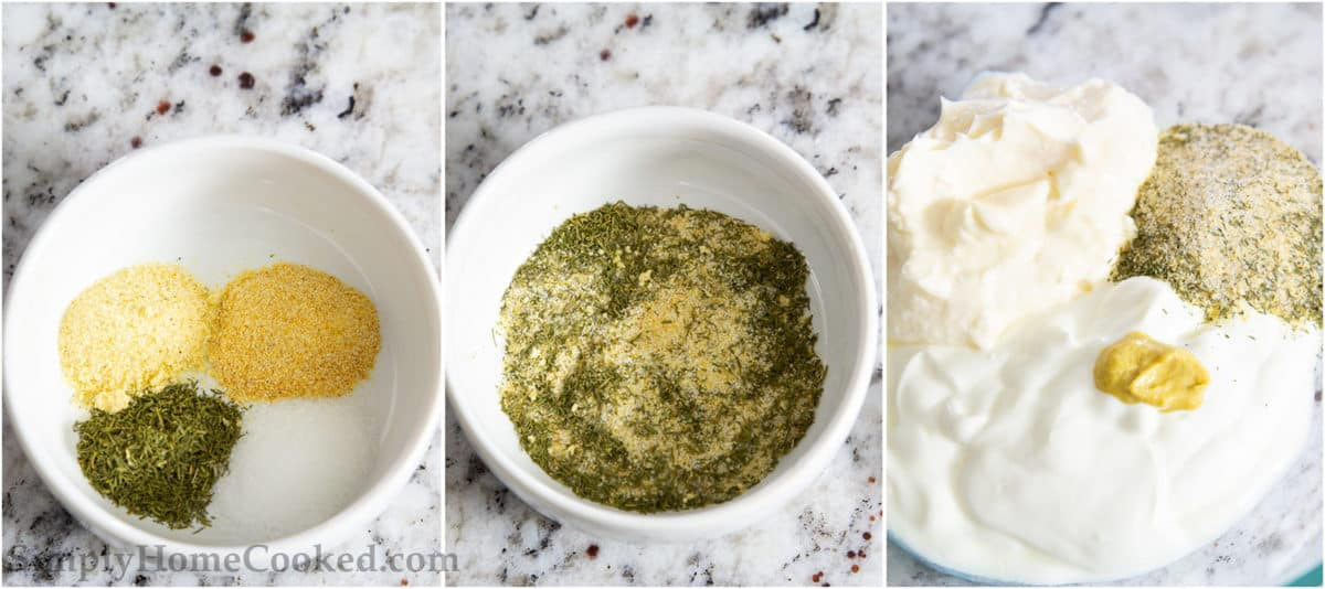 Steps to make Buttermilk Ranch Dressing, including adding the dry ingredients together, mixing them in a white bowl, and then mixing the wet ingredients together in a bowl.