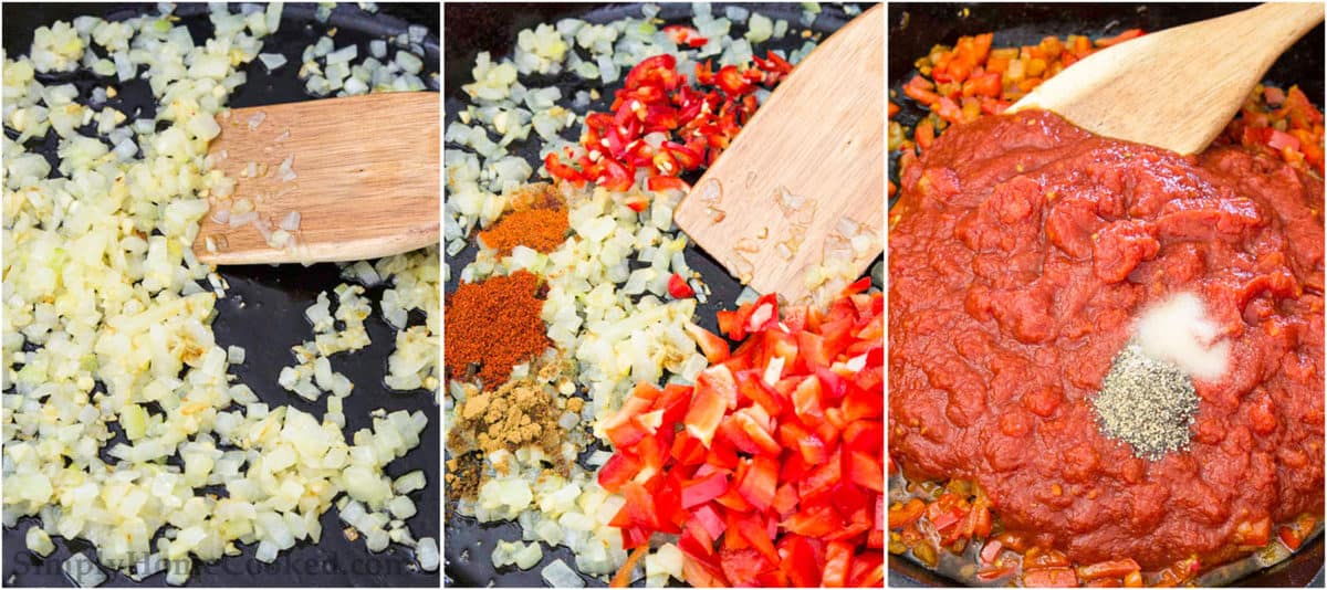 Steps to make Shakshuka, including sauteing garlic and onion, adding in spices and pepper, and then stirring in tomatoes, salt, and pepper.