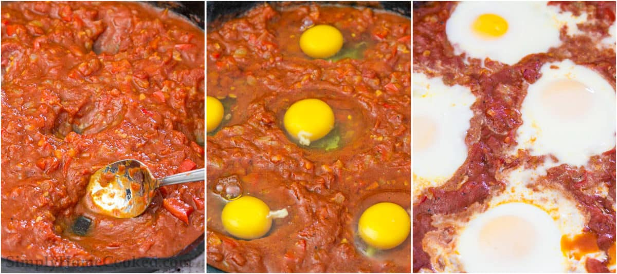 Steps to make Shakshuka, including making welts for the eggs and then baking the dish to cook the eggs.