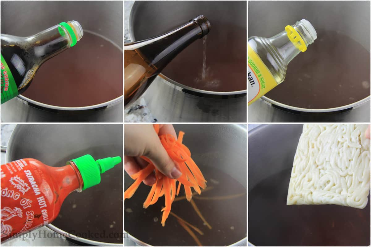 Steps to make Udon soup, including adding soy sauce, sake, rice wine vinegar, and Sriracha to the broth and then carrot peels and udon noodles.