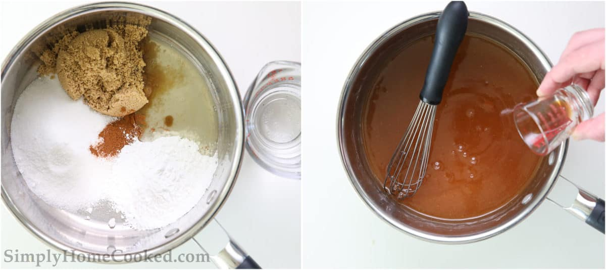 Steps to make Easy Apple Pie Filling, including adding sugars, cinnamon, cornstarch, lemon juice, and water to a pot and simmering, then adding the vanilla extract, and stirring with a whisk.