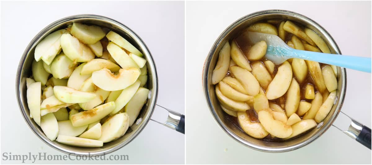 Steps to make Easy Apple Pie Filling, including cooking the apples in the liquid base and stirring until covered.
