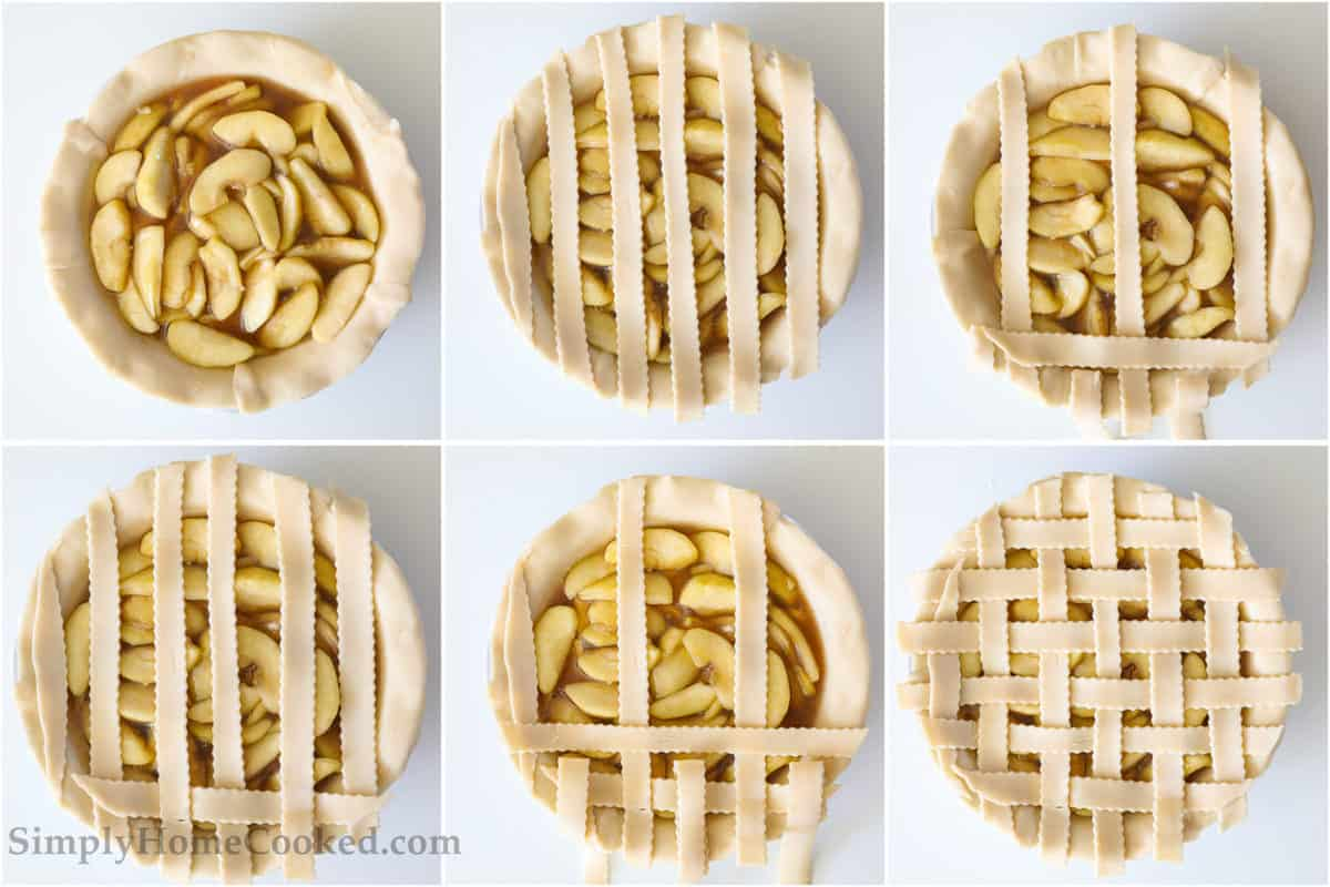 Six steps to making the lattice topping for a Homemade Apple Pie, including alternating and folding over the strips to create the lattice pattern.