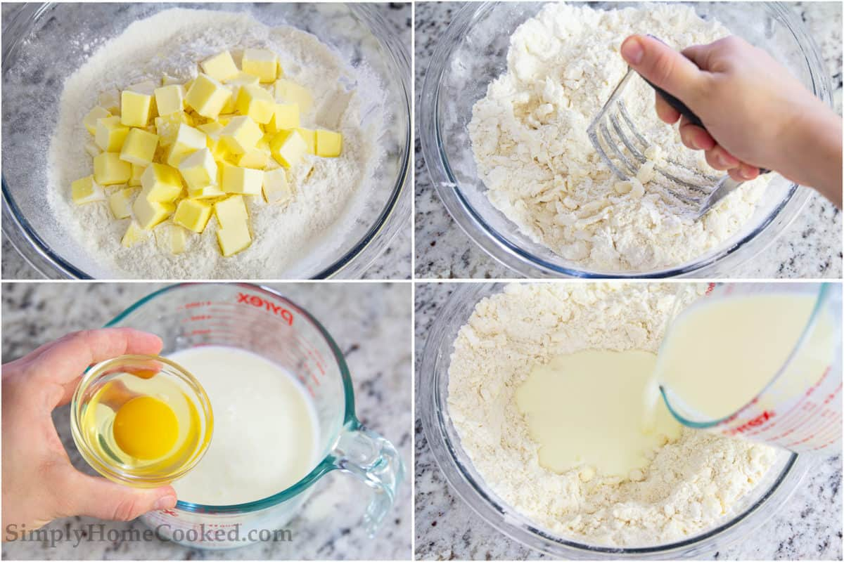 Steps to make Perfect Buttermilk Biscuits, including cutting the cold butter cubes into the flour mixture, adding the egg, and then adding the buttermilk.