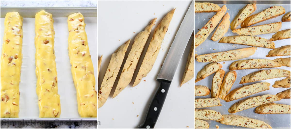 Steps to make Chocolate Dipped Almond Biscotti, including forming the dough into logs, baking and cutting into strips and baking again.