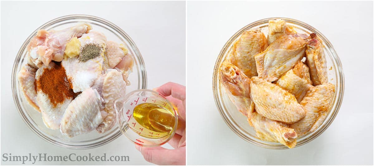 Steps to make Air Fryer Chicken Wings, including creating a marinade of oil, garlic, paprika, salt, and pepper and tossing them all together.