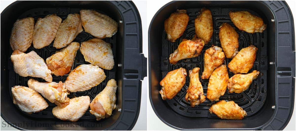 Steps to make Air Fryer Chicken Wings, including placing the wings in the air fryer basket and cooking them.