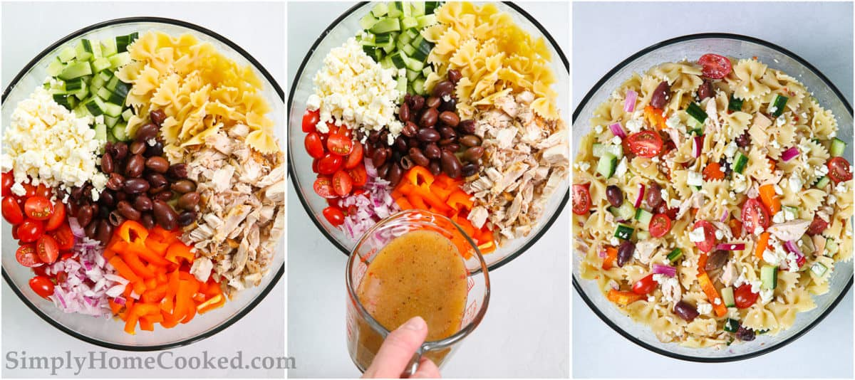 Steps to make Greek Chicken Pasta Salad, including adding all the ingredients to a large bowl, drizzling in the Greek dressing, and then tossing everything together.
