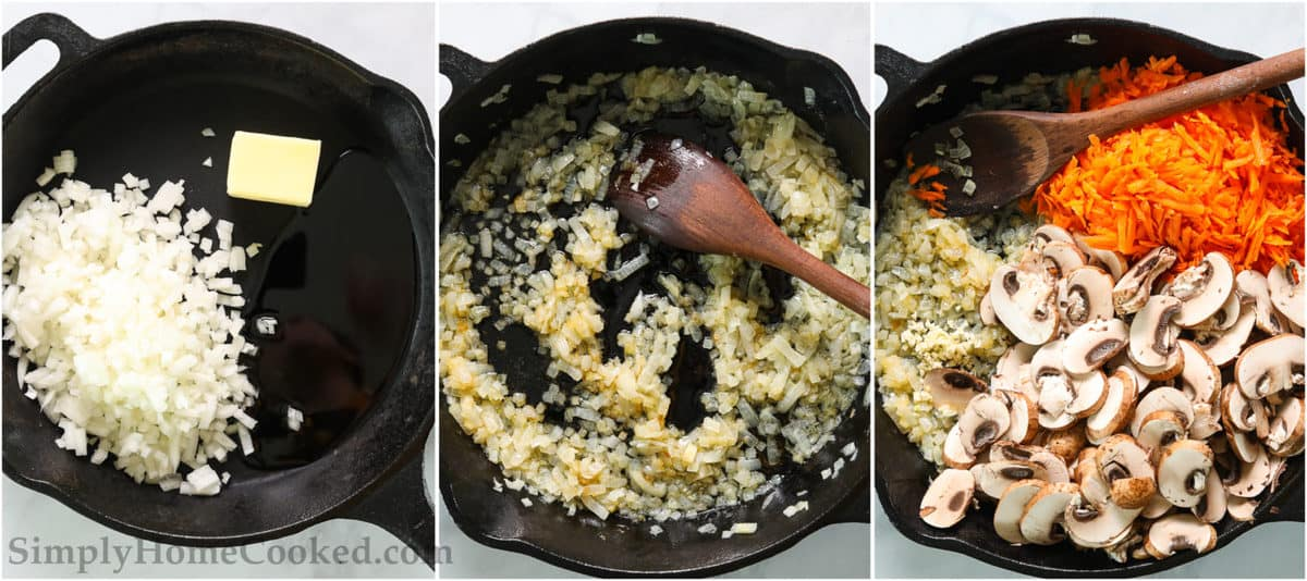 Steps to make Potatoes with Mushroom Gravy, including sauteing onions in oil and butter, and adding carrots, mushrooms, and garlic to the skillet and mixing with a wooden spoon.