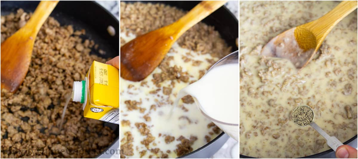 Steps to make Sausage Gravy, including adding broth and milk to sausage and stirring in salt and pepper with a wooden spoon.