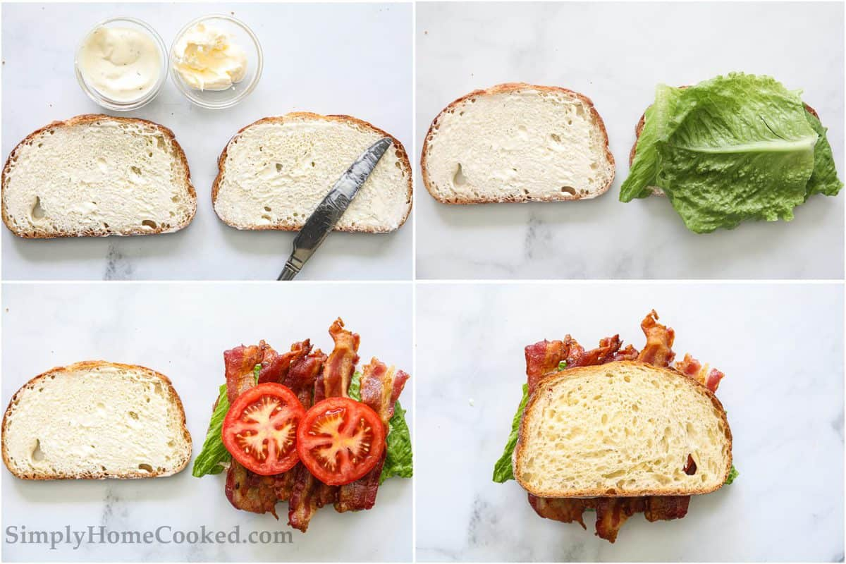 Steps to make Classic BLT Sandwich, including spreading mayo and ranch on bread, layering lettuce, bacon, and tomato slices on top, and then placing the second bread slice on top.