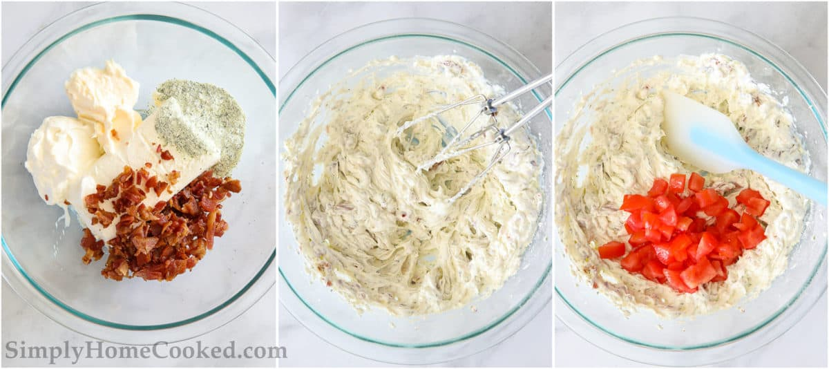 Steps for making Easy BLT Dip, including mixing bacon, sour cream, mayo, and cream cheese together with ranch seasoning using a hand mixer, then gently mixing in the diced tomatoes with a spatula.