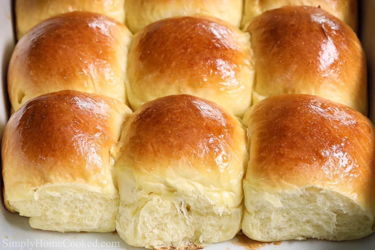 Close up of nine Soft Brioche Dinner Rolls.