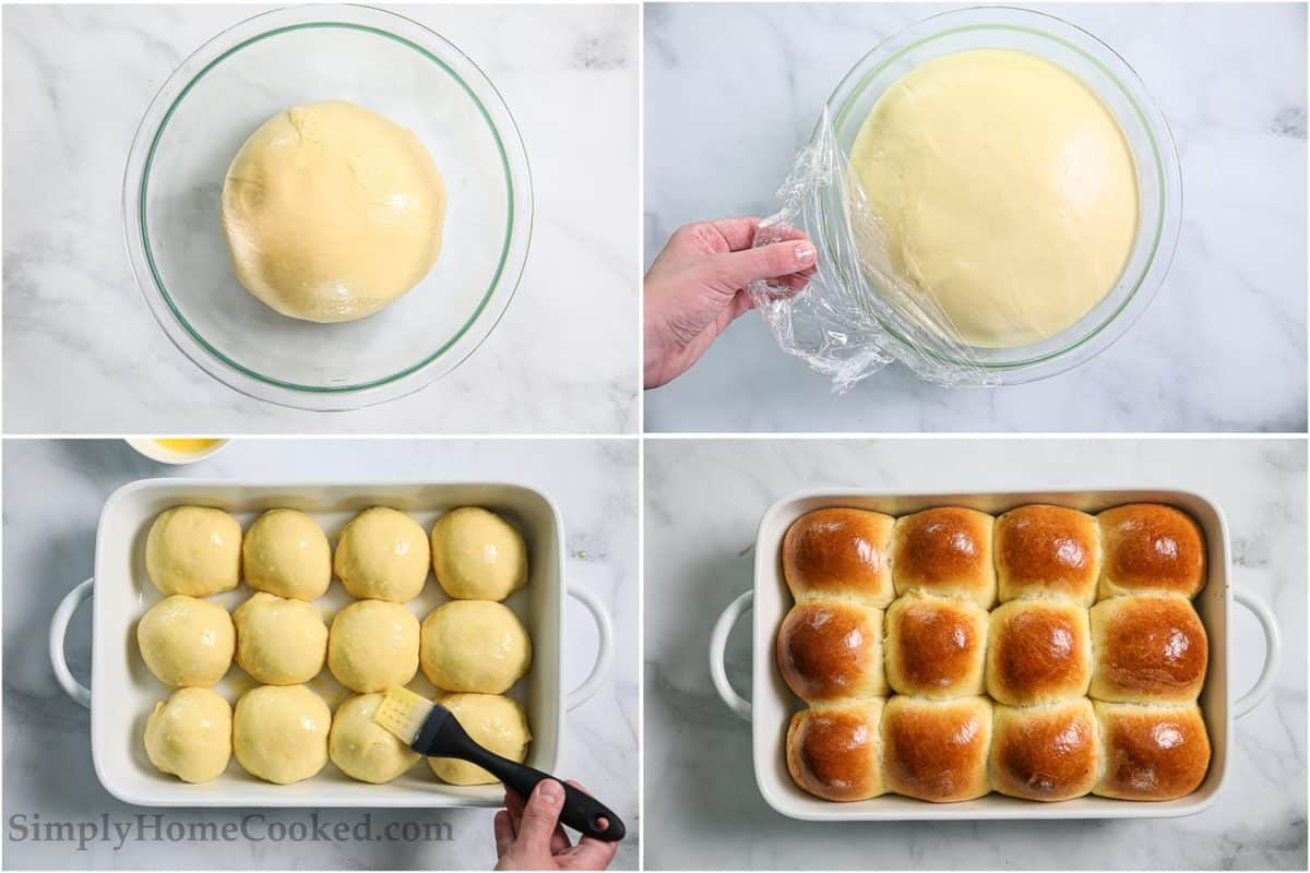 Steps for making Soft Brioche Dinner Rolls, including proofing the dough and then forming it into 12 balls, then brushing them with an egg wash before baking.