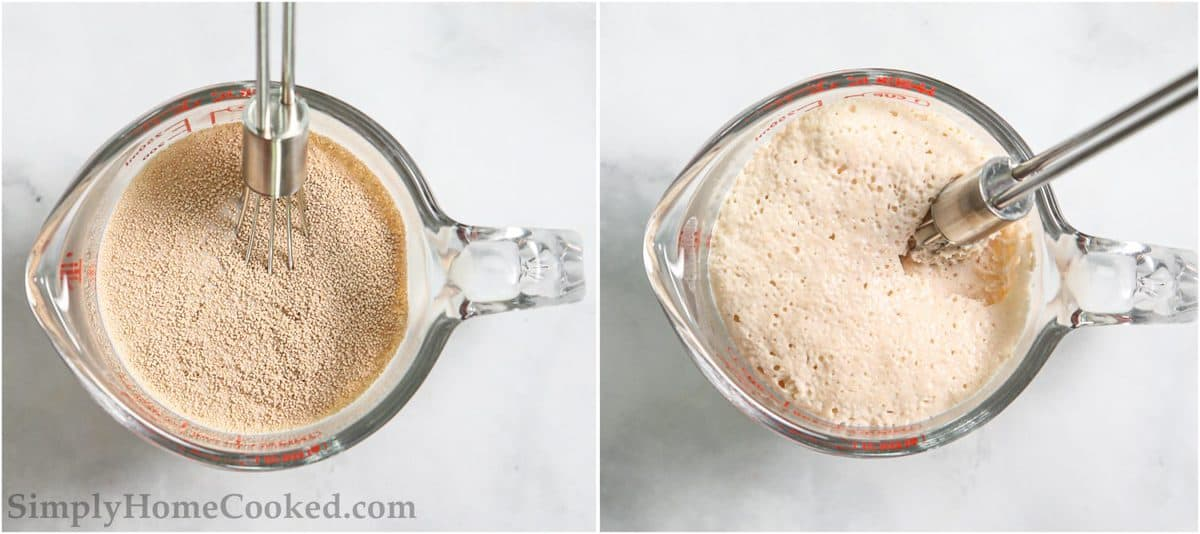 Steps for making Soft Brioche Dinner Rolls, including mixing water and yeast with a whisk until frothy.