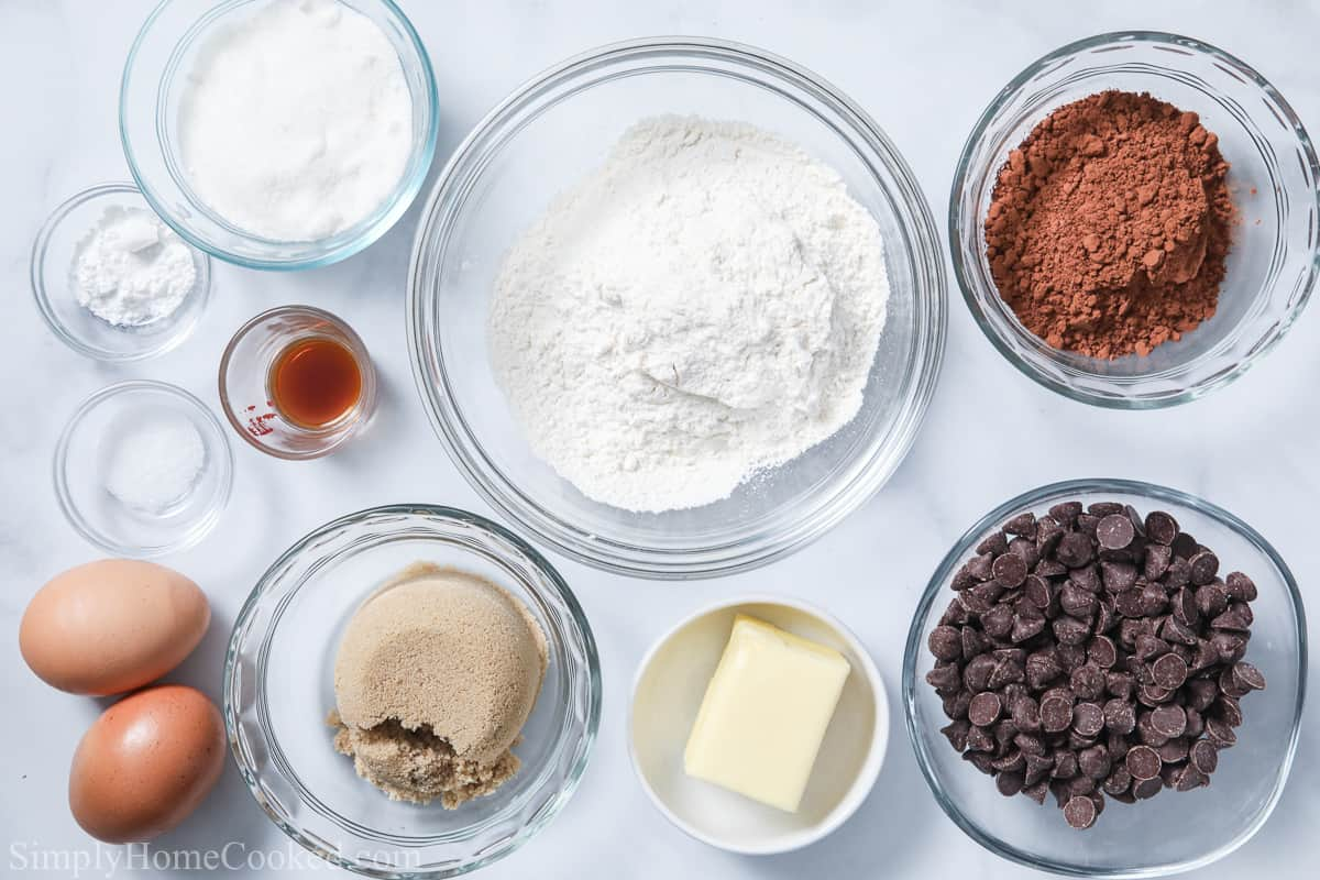 Ingredients in Double Chocolate Cookies, including flour, cocoa powder, salt, baking powder, eggs, granulated sugar, brown sugar, butter, vanilla, and chocolate chips.