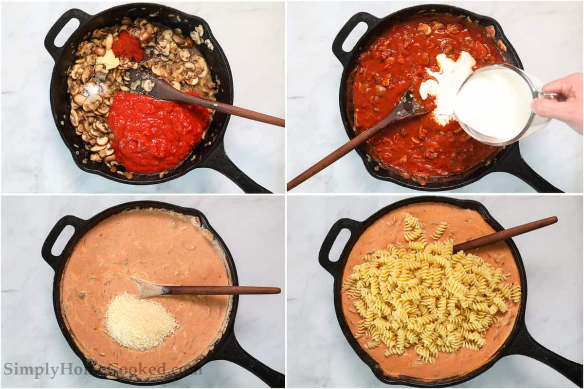 Steps to make Creamy Tomato and Mushroom Rotini Pasta, including adding crushed tomatoes to skillet, then stirring in the heavy cream and Parmesan cheese, and finally mixing in the rotini pasta.