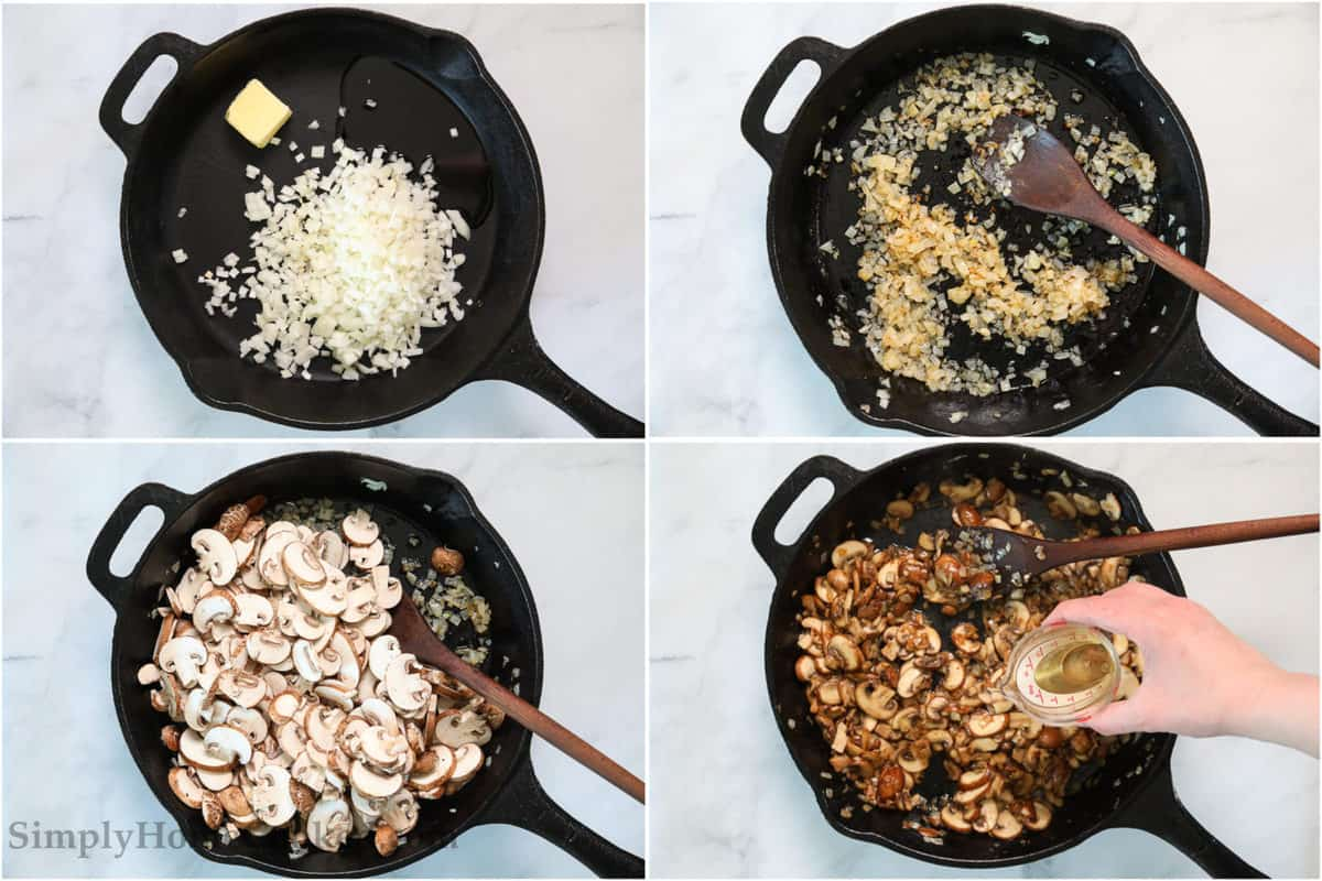 Steps to make Creamy Tomato and Mushroom Rotini Pasta, including sauteing onions in butter until translucent, adding in mushrooms and stirring with a wooden spoon, and then adding in white wine.