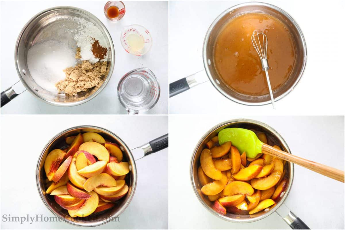 Steps to make Peach Pie Filling, including boiling the ingredients in a sauce pan, then whisking them together and adding the peach slices, simmering until slightly softened.