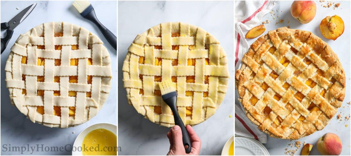 Brushing on an egg wash for a golden brown lattice top Perfect Peach Pie, with peaches in the white background.