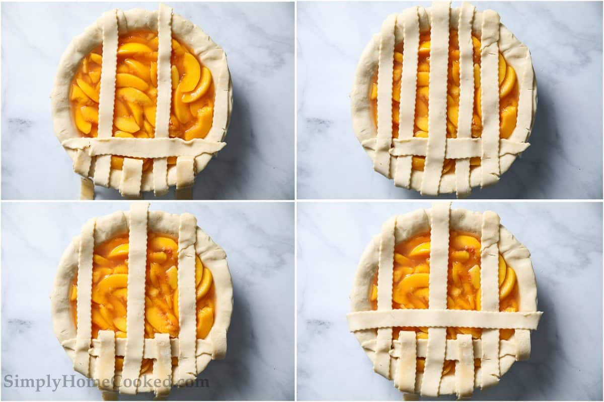 Steps for making a lattice top for a Perfect Peach Pie.