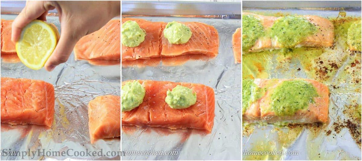 3 image collage on steps to make pesto salmon