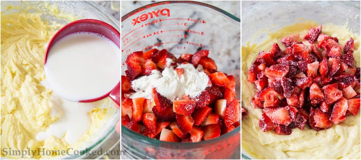 3 image step by step photo collage of how to make a strawberry bundt cake