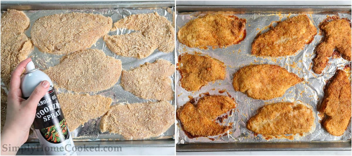 Steps for making Baked Breaded Chicken Cutlets, including spraying the chicken cutlets with cooking spray and then baking them.