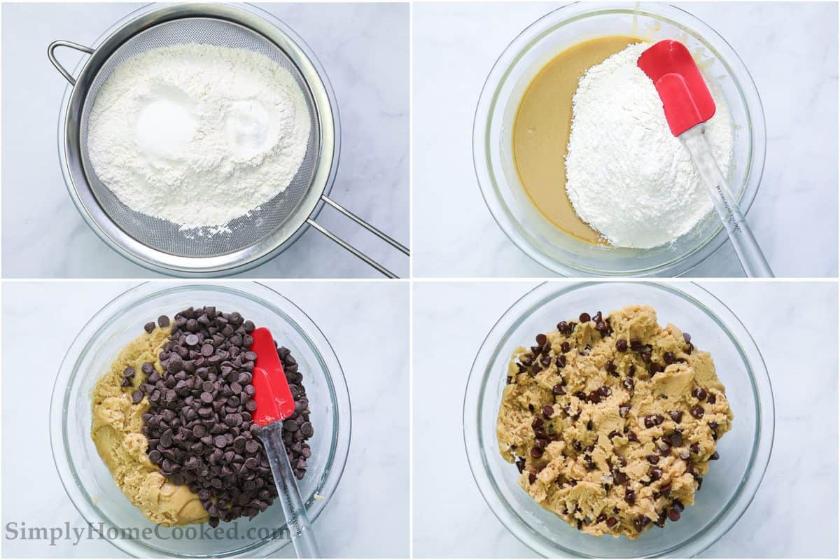 Steps to make Best Chocolate Chip Cookie Bars, including sifting the flour, folding it into the wet ingredients and then stirring in the chocolate chips.