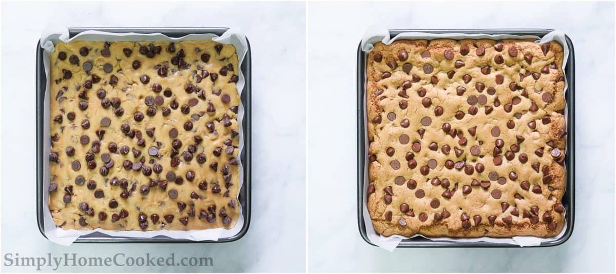 Pan of Best Chocolate Chip Cookie Bars before and after baking.