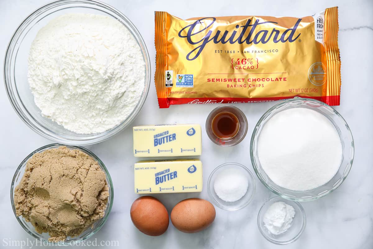 Ingredients for Best Chocolate Chip Cookie Bars, including flour, sugar, brown sugar, butter, chocolate chips, eggs, salt, baking soda, and vanilla extract on a white background.