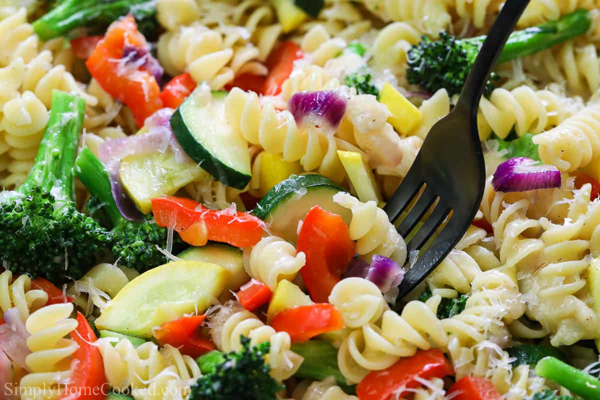 Close up of Easy Pasta Primavera with black fork.