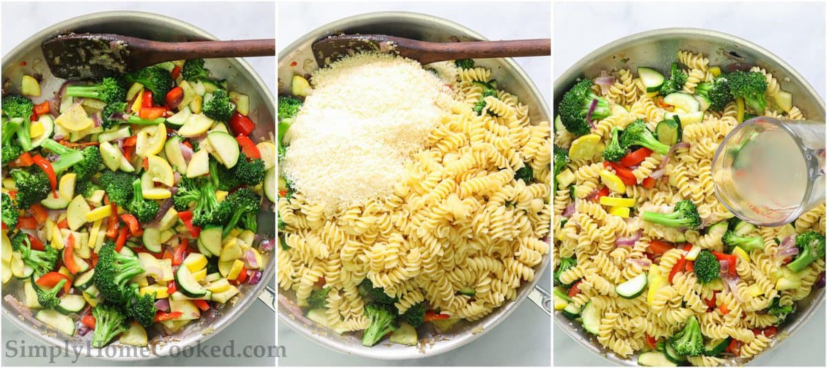 Steps to make Easy Pasta Primavera, including stirring the pasta into the vegetables with Parmesan cheese and adding the pasta water.