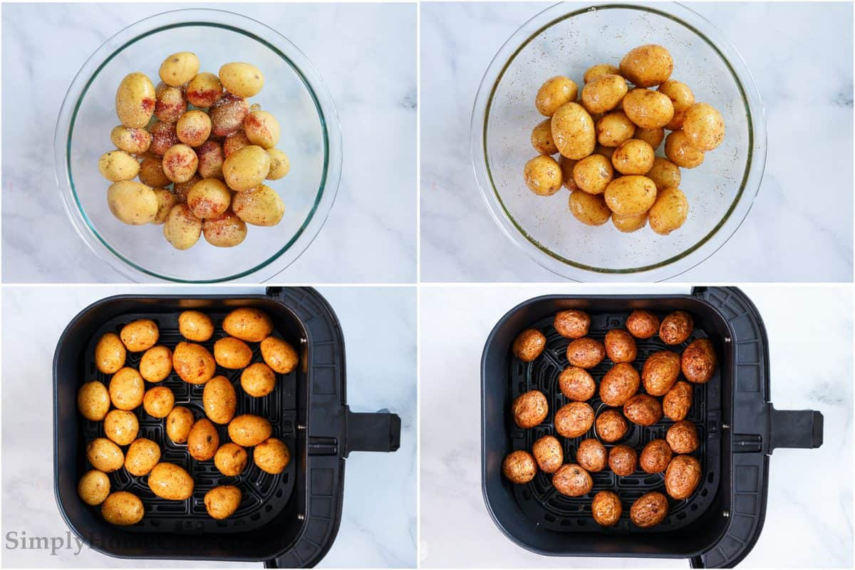 Steps to make Crispy Air Fryer Baby Potatoes, including oiling and seasoning the potatoes, tossing them to coat, and cooking them in the air fryer.