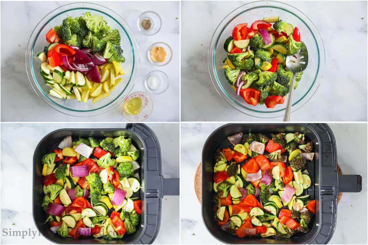 Steps to make Roasted Air Fryer Vegetables, including cutting the veggies, seasoning them, and then cooking them in the air fryer.