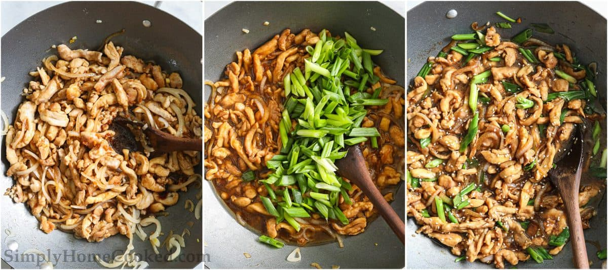 Steps to make Easy Mongolian Chicken, including stirring the sauce and chicken together, adding in green onion, and then mixing everything with a wooden spoon in the wok.