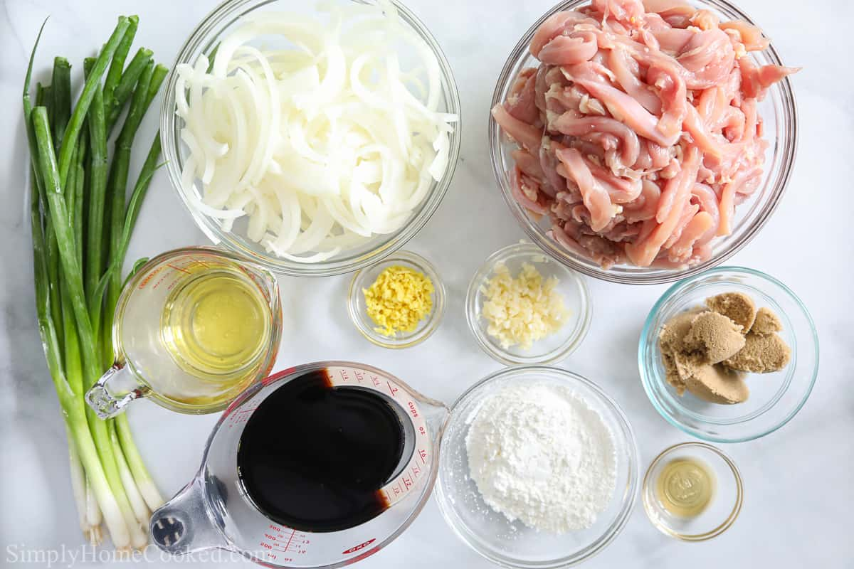 Ingredients for Easy Mongolian Chicken, including chicken thighs, onion, green onion, garlic, ginger, oil, soy sauce, brown sugar, sesame oil, and cornstarch.